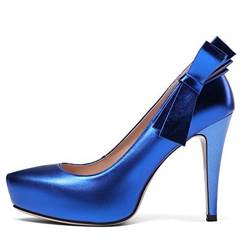 Bowknot Spillo Punta Tacco Tacchi Vera Di Mano Delle Blu Nove In Sexy Pelle Sette Toe A Donne Alti YYpt4q