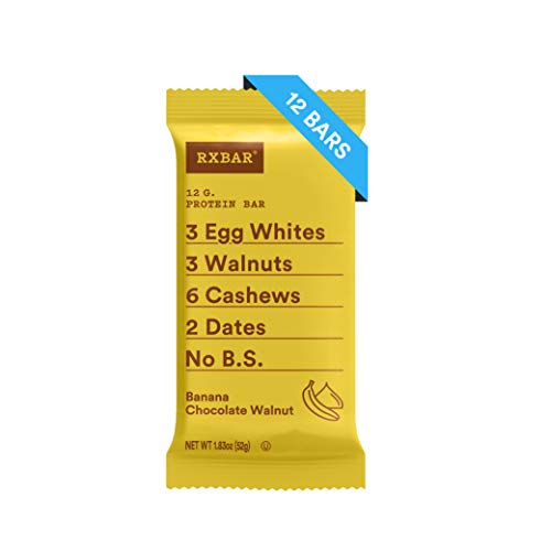 RXBAR Real Food Protein Bar, Banana Chocolate Walnut, Gluten Free, 1.83oz Bars, 12 Count