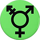 "Neon Green Israel Transgender Genderqueer Flag Symbol 2.25"" Large Button Pin"