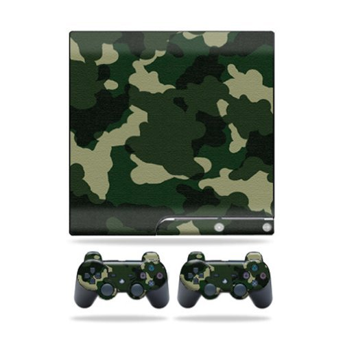 MightySkins Skin Compatible with Sony Playstation 3 PS3 Slim Skins + 2 Controller Skins Sticker Green Camo (Ps3 For Camo Skin)