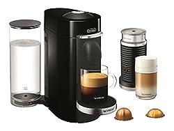 Nespresso VertuoPlus Deluxe Coffee and Espresso Maker by De'Longhi with Aeroccino, Black by DeLonghi