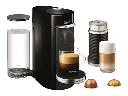 Nespresso ENV155BAE VertuoPlus Deluxe Coffee and Espresso Machine Bundle with Aeroccino Milk Frother by De'Longhi, Black