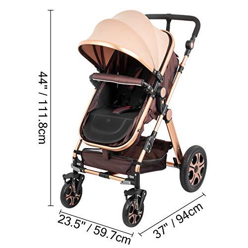 41FUDSKYoyL - VEVOR Baby Stroller 2 In 1 Stroller Bassinet Stroller Foldable Anti-Shock Newborn Stroller Baby Carriage Stroller Luxury Baby Trend Stroller Stroller For Baby Pram Stroller