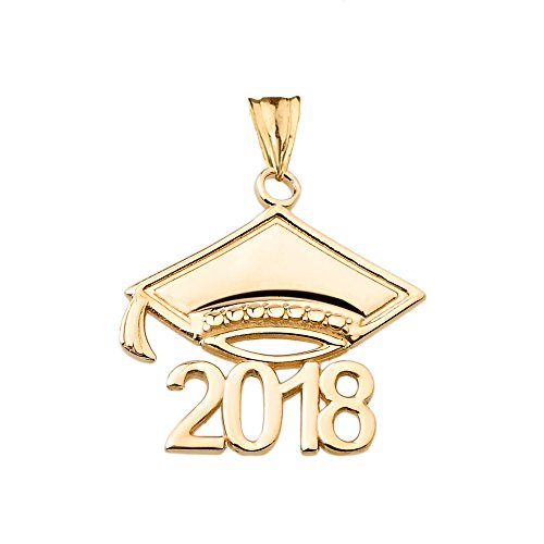 Graduation Cap 14k Gold Charm - Fine Class of 2018 Graduation Cap Charm Pendant in 14k Yellow Gold
