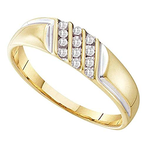 Roy Rose Jewelry 10K Yellow Gold Mens Round Channel-set Diamond Diagonal Triple Row Wedding Band 1/8-Carat tw
