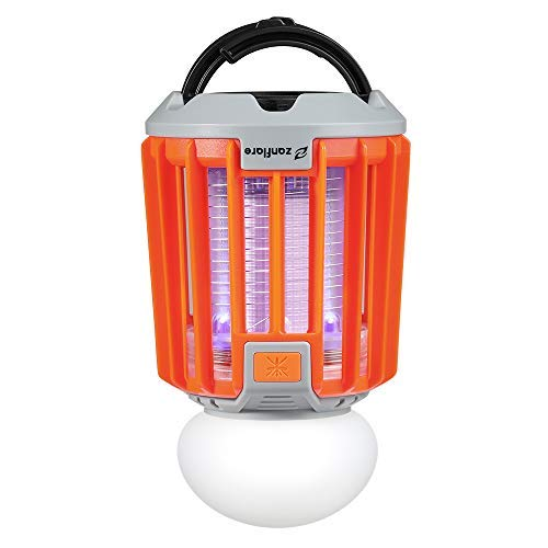 Zanflare Camping Lantern and Bug Zapper, 2-in-1 Portable IPX6 Waterproof Mosquito Killer LED Lantern with 2000mAh Rechargeable Battery, Retractable Hook, Removable Lampshade