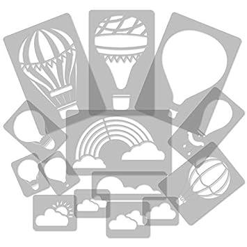 14 Stück Wiederverwendbare Kunststoff Schablonen Heißluftballon Ballon Wolke Regenbogen 34cm Bis 8cm Kinderzimmer Dekorarion