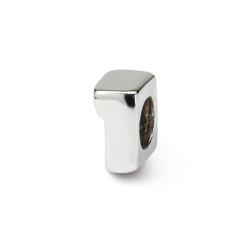 反射ビーズスターリングシルバー小さな数1ビーズ( 7 x 4 mm )   B009BHSWYE