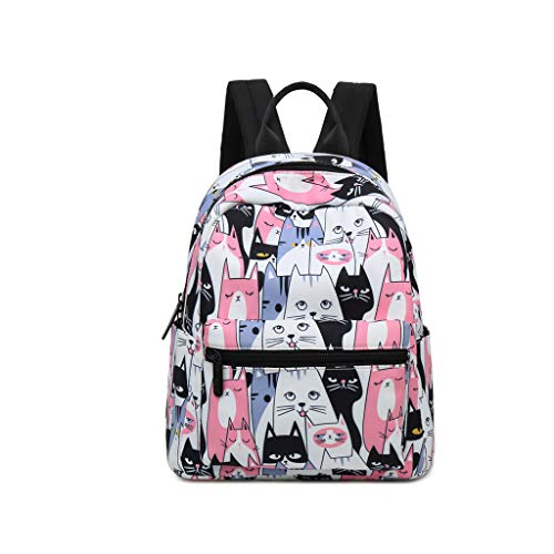 (Ymeibe Cute Cat Mini Backpack for Teen Girls Lightweight Canvas Backpack fot Travel Multi-Pockets Cartoon Bookbag Fashion Campus Casual Backpack)