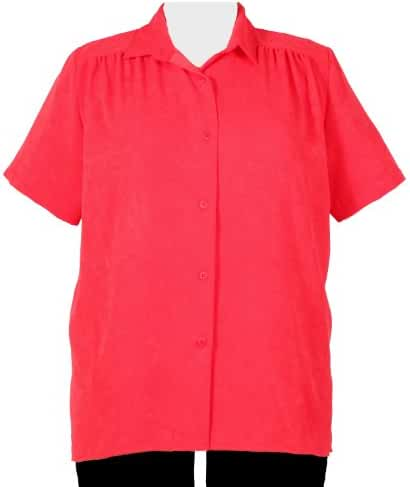 A Personal Touch Women's Plus Size Red Button-Down Tunic