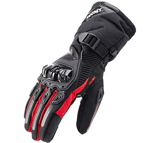 Comprajunta Touch Screen Motorcycle Unisex Gloves, Knuckle Protection, Waterproof, Anti-Slip Design L/XL/XXL, Outdoor Activities, Cycling,Red,XL