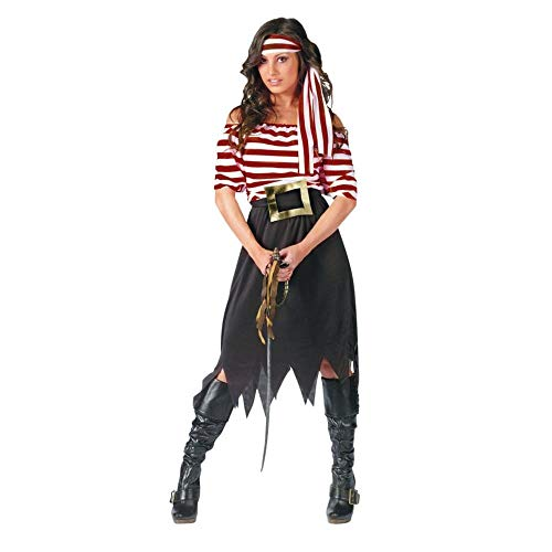 Adult Halloween Costumes For Work (Fun World Adult Womens Classic Pirate Halloween Costume,One Size Fits up to Size 14,Red/White)
