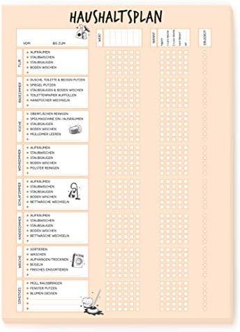 Haushaltsplan II im DIN A4 Format mit 50 Blatt - Für eine Familie oder WG mit bis zu 6 Personen - Haushaltsplaner mit Putzkalender - to do Liste Wochenplaner - von Sophies Kartenwelt