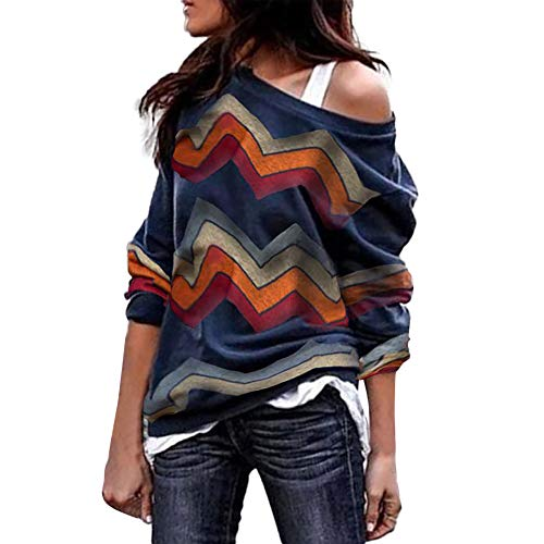 Sunhusing Ladies Colorful Geometric Wavy Stripe Print Long Sleeve Round Collar Off Shoulder TShirt Top