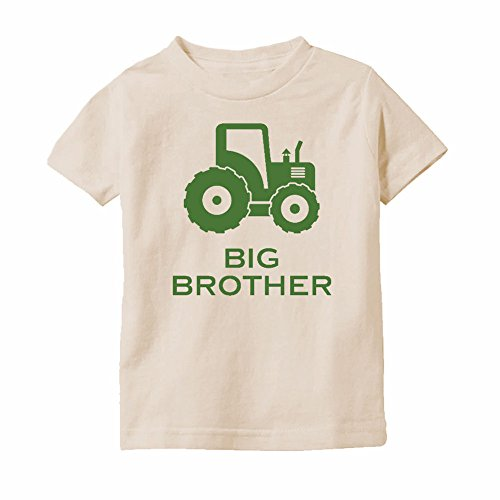 We Match! Big Brother Farm Tractor Toddler & Kids T-Shirt (Natural, (Natural Big Brother T-shirt)