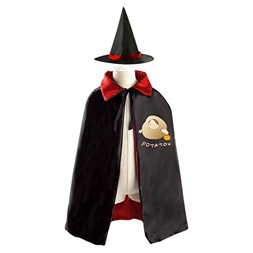 DIY potatoes cartoon people Costumes Party Dress Up Cape Reversible with Wizard Witch Hat - Headless Person Halloween Costume