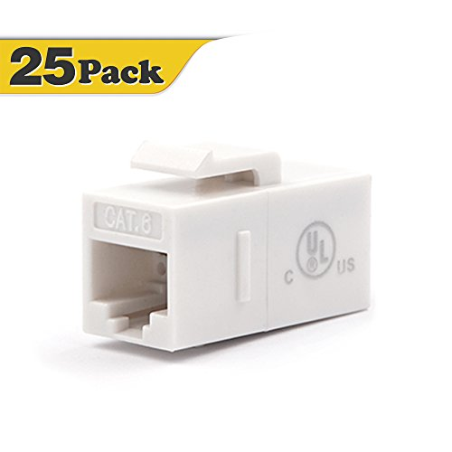 - [UL Listed] VCE (25-Pack) UTP CAT6 Keystone Coupler,RJ45 Female to Female Insert Coupler, UTP CAT6 Keystone Inline Coupler