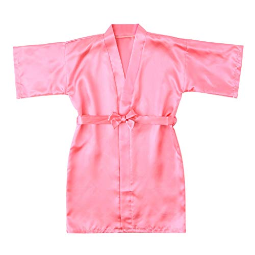MOGOV Toddler Baby Kids Girls Thin and Light Solid Silk Satin Kimono Robes Bathrobe Sleepwear Clothes Watermelon Red]()