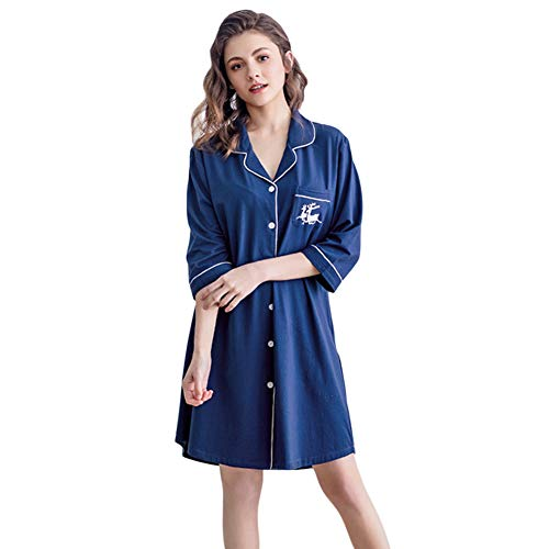 Tortor 1Bacha Womens Nightshirts Satin Pajama Top Boyfriend Sleep Shirt Button Down Sleep Shirts Dress (Royal Blue, XXL) -