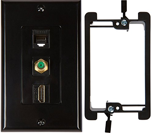 Buyer's Point HDMI 3GHz Coax Ethernet Wall Plate with Single Gang Low Voltage Mounting Bracket Device (Black Kit)