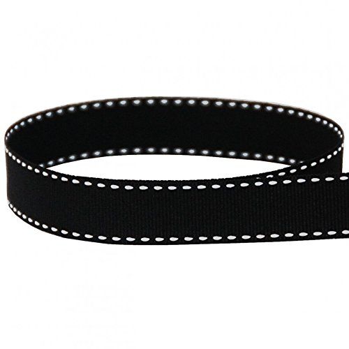 USA Made 3/8'' Black & White Saddle Stitch Grosgrain Ribbon - 50 Yards (Multiple Widths Available) by The Ribbon Factory