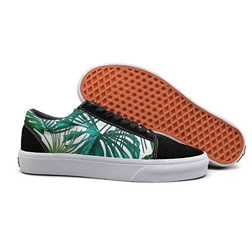 (Tropical Green Marijuana Leaf Girls Flat Tennis Shoes for Womens Breathable and Lightweight Budge Leather Shoe)
