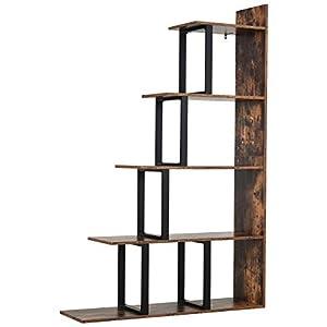 HOMCOM Étagère bibliothèque séparateur de pièce Style Industriel en escalier 5 étagères dim. 102L x 30l x 160H cm Acier…