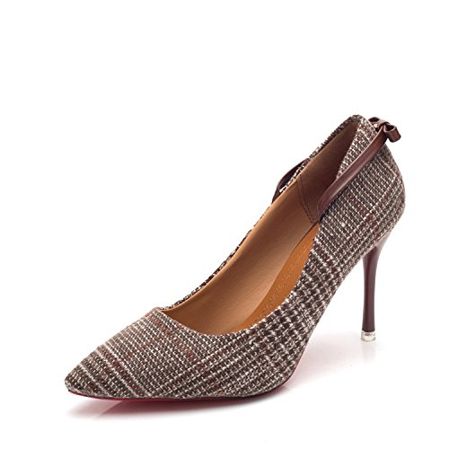 yalanshop Talon Wild Girl Talons Peu 38 Noeud Chaussures Brown Profonde Papillon Treillis Bouche Aiguilles Chaussures à Simples YBr6qYxO