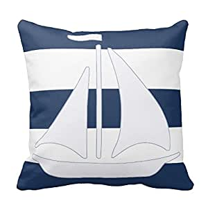 Cateyes Nautical Sailboat Blue Stripe Throw Pillow Covers