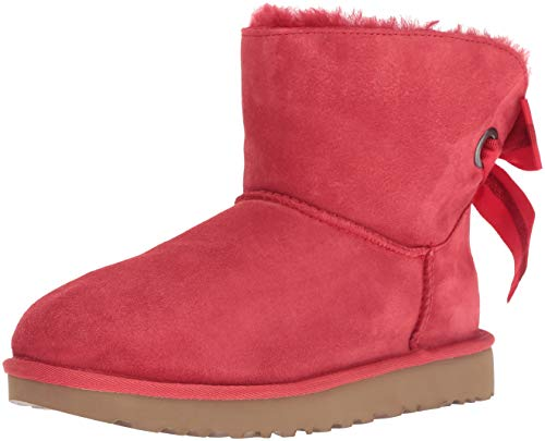 UGG Women's W Customizable Bailey Bow Mini Fashion Boot, Ribbon red, 10 M US
