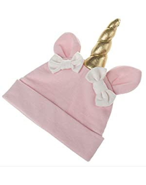 New Solid Color Unicorn Bow Cotton Cap Cute Winter Baby Kids Girls Boys Warm Hats (5 Colors)