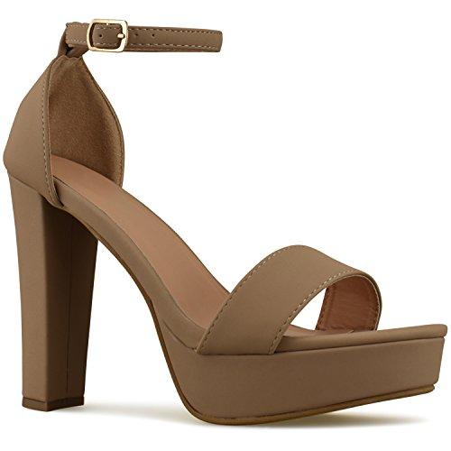 Premier Standard Womens Platform Ankle Strap High Heel - Peep Toe Sandal Pump - Sexy Chunky Dressy Heel, TPS Heels-T52 Tan Size 10 Sexy Chunky Heel