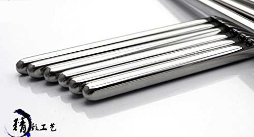 Makidar 10 Pairs of 18/10 Stainless Steel Chopsticks Eco-friendly Anti-skid Anti-hot Design Vacuum (Design Chopsticks)