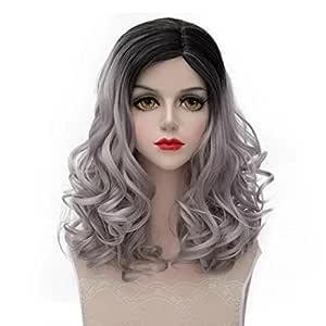 Moda nueva Multicolr Mixed Top negro 18pulgadas/45cm largo rizado Niñas Anime Cosplay peluca