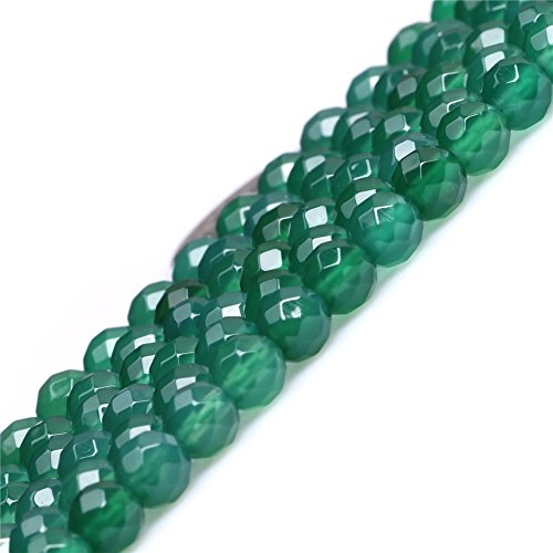 Faceted Green - Green Agate Beads for Jewelry Making Natural Gemstone Semi Precious 6mm Round Faceted 15