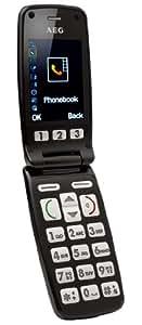 AEG VOXTEL M400 - Teléfono móvil con tapa (teclas grandes y base de carga), color negro (importado)