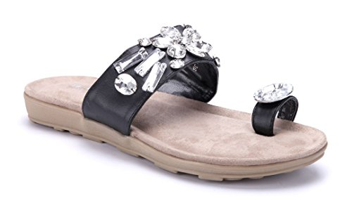 fbf73f48fea27f Schuhtempel24 Damen Schuhe Zehentrenner Sandalen Sandaletten Flach  Ziersteine Schwarz