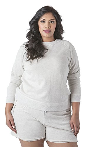 0e1b642e87e6b Poetic Justice Plus Size Curvy Women s French Terry Open Back Long Sleeve  Top