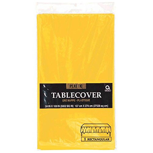 "Vibrant Birthday Party Table Cover, Sunshine Yellow , 54"" X 108"", Plastic"