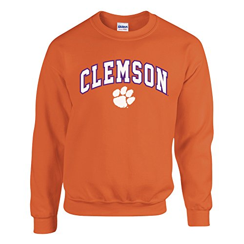 Elite Fan Shop Clemson Tigers Crewneck Sweatshirt Arch Orange - M (Tigers Sweatshirt Orange Clemson)