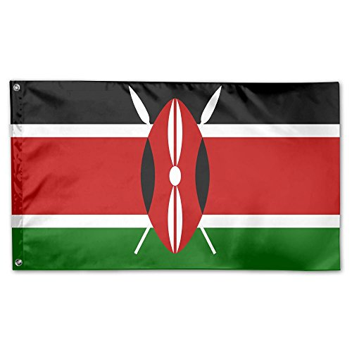 Yongchuang Feng Flag Of Kenya Home Garden Yard Flags 3 X 5 Feet Polyester Flag Indoor Outdoor Fall Flags Wall Banners Decoration (Metal New Kenya)