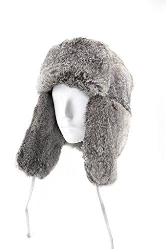 FUR WINTER Rabbit Fur Full Russian Ushanka Soviet Army Military Soldier Hat Gry L