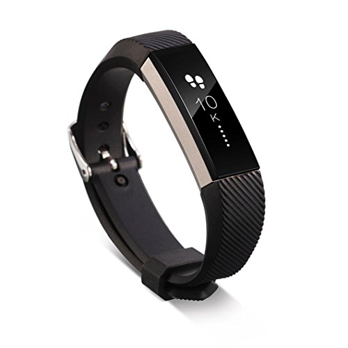 - Replacement Wrist Band (160-220MM)Silicon Strap Clasp For Fitbit Alta HR ,Tuscom (Black)