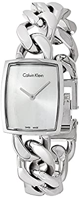 Calvin Klein Women's Swiss Amaze Stainless Steel Link Bracelet Watch 27x22mm K5D2S126
