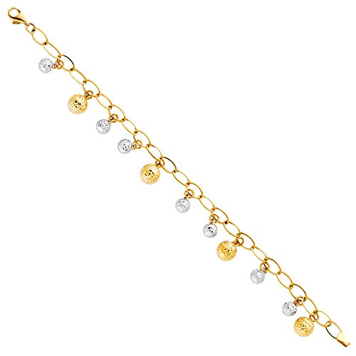 14k Two Tone Gold Bracelet with Lobster Claw Clasp - 7.5