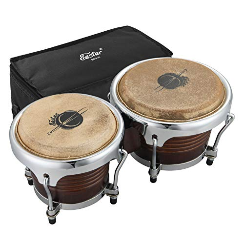 """Eastar EBO-21 Bongo Drum Set 7"""" and 8"""" Buffalo Leather African Drum Wood Percussion Instrument with Bag and Tuning Wrench"""
