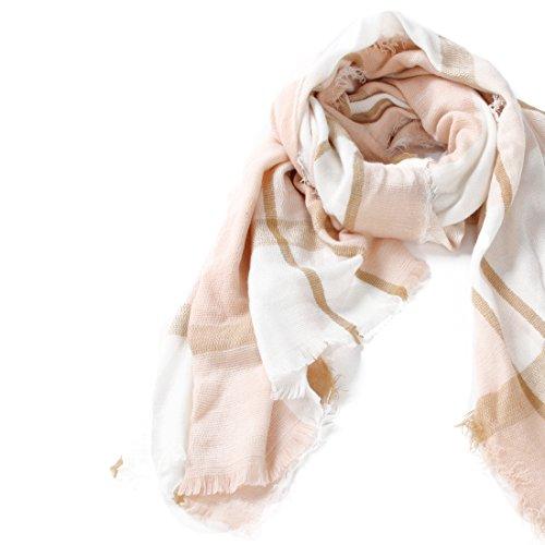 Blanket Scarf for Women Square Plaid Scarf Womens Winter Tartan Scarf Wrap Shawl (A: Beige Pink Scarf(3978 inch)) (Scarf Subway)