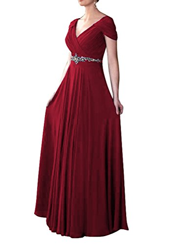 [WeiYin Women's Cap Sleeve V-neck Ruched Empire Line Mother of the Bride Dresses Bungundy US 4] (Plus Size Formal Dresses)