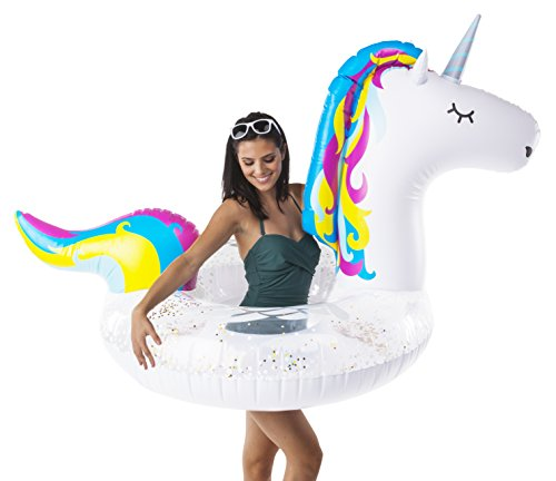 BigMouth Inc. Gigantic Unicorn Pool Float with Glitter Inside, Funny Inflatable Vinyl Summer Pool or Beach Toy, Patch Kit Included