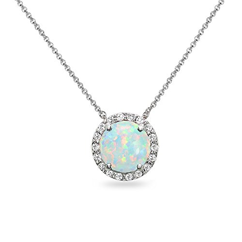 - Sterling Silver Simulated White Opal and White Topaz Halo Slide Pendant Necklace